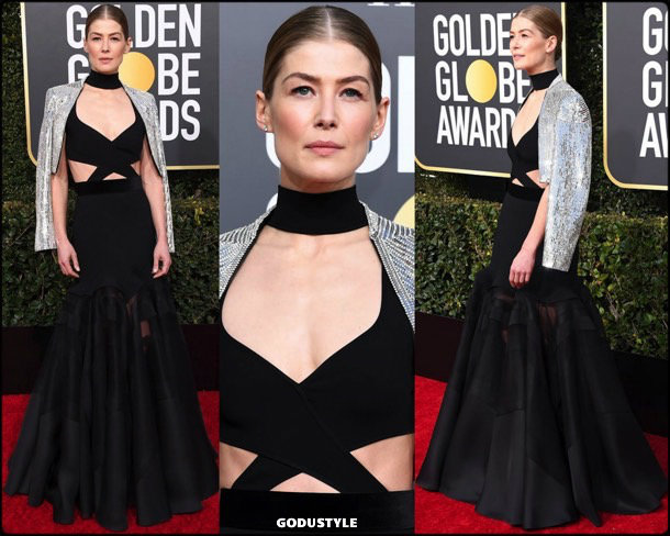 rosemund pike, golden globes, party, looks 2019, red carpets, looks, style, details, fashion, globos oro