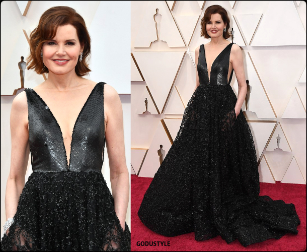 geena davis, oscars, 2020, red carpet, 2020, look, style, beauty, details, jewelry, accessories, moda, alfombra roja, oscar, belleza, joyas
