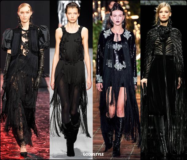 fringe, black, party, dress, fall, winter, 2020, 2021, trend, look, style, details, runway, vestidos, moda, flecos, tendencia, invierno, otoño
