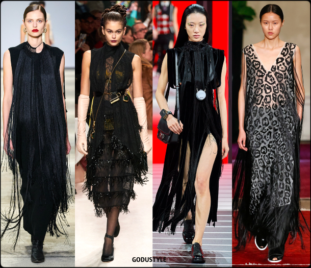 fringe, black, dress, fall, winter, 2020, 2021, trend, look, style, details, runway, vestidos, moda, flecos, tendencia, invierno, otoño