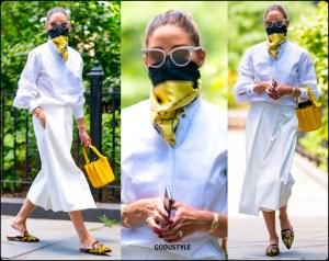 olivia palermo, fashion, looks, street style, scarf, face mask, scarf face mask, summer, 2020, look, style, details, outfit, inspiration, influencer, moda, mascarillas, pañuelo