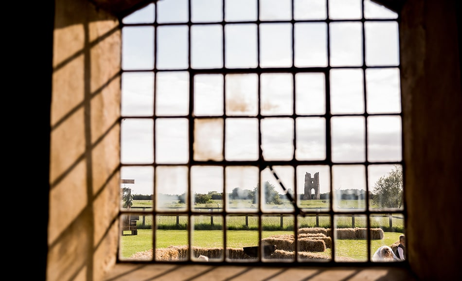 Kathy Ashdown - view from Godwick Great Barn to the ruins