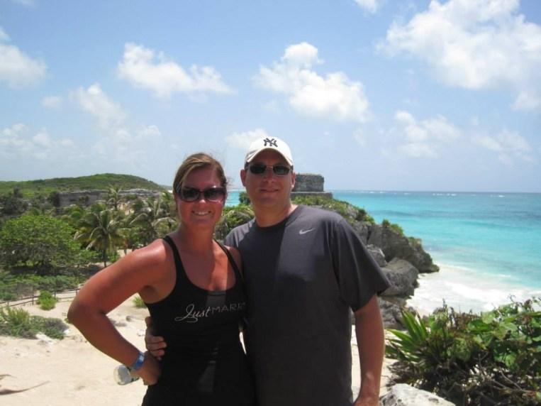 Ashley Mott and her husband honeymooning at the Mayan Ruins of Tulum.