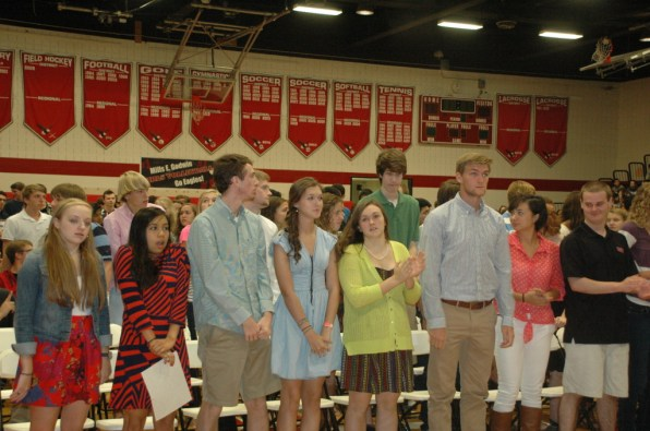 Godwin's 12th grade class being recognized as seniors.