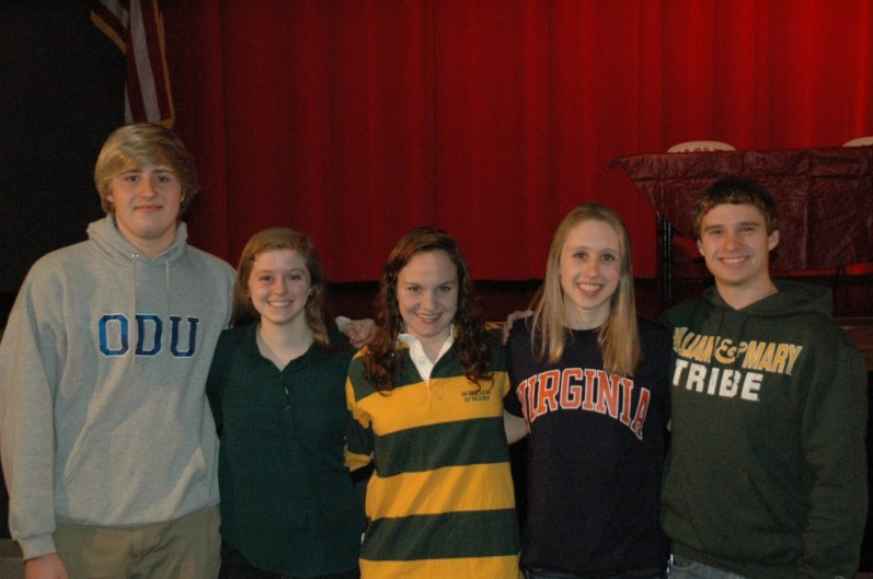 Seniors (l to r) Owen Hadd, Dorothy Reilly, Bailey Hall, Jessie Gvozdas, and Brett Barden. All signed letters to swim in college.