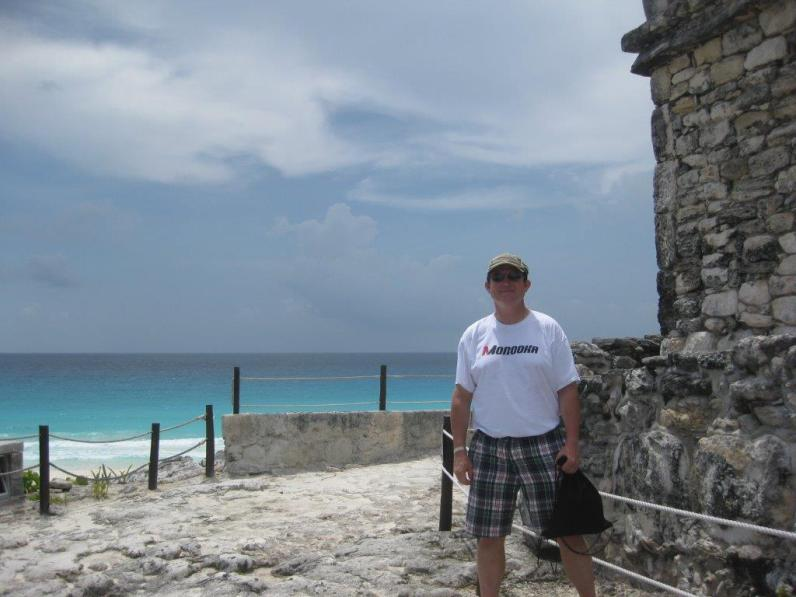 Latin teacher Michael Compton at the Templo del Alacrán in Cancun.