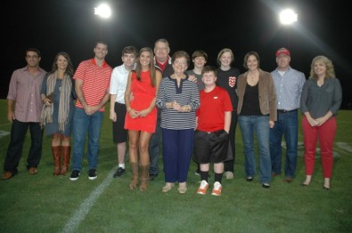 HOF inductees and their families at halftime of the Godwin vs Freeman football game
