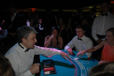 Card games as student activities during prom.