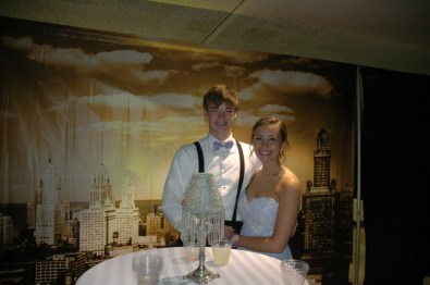 Two students enjoying prom night.