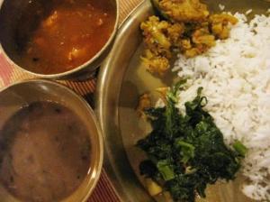 Dal Bhat (Lentil, rice and vegetables)