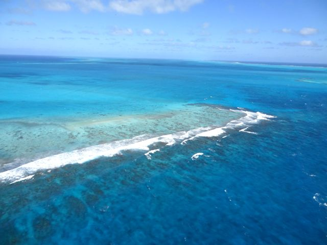 view from chopper over the blue hole in Belize