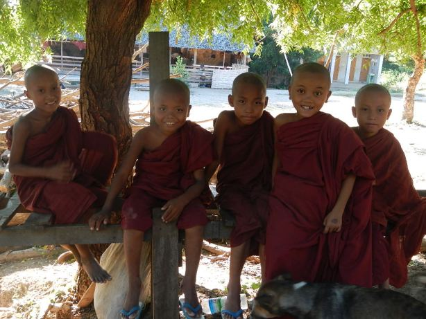 kids at Buddhist monastary in Burma
