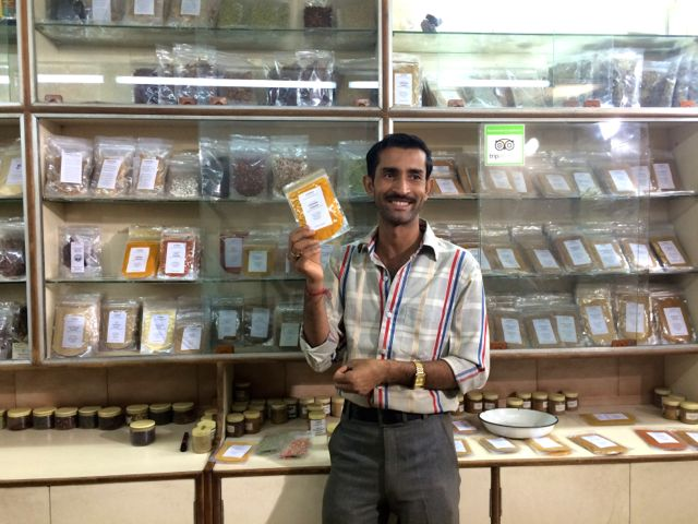Shopping for teas at the spice market in New Delhi