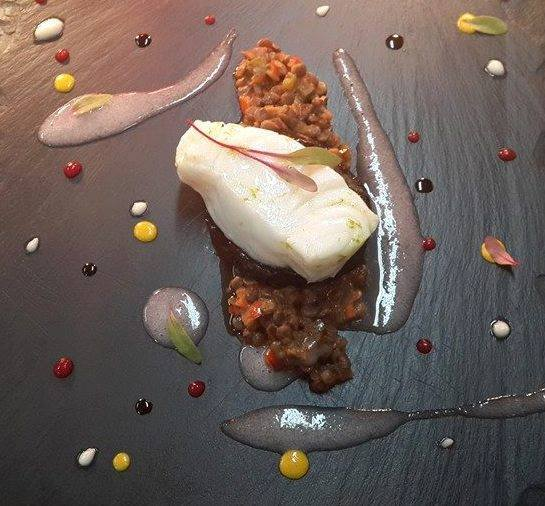 Sea Bass with spicy lentils and liquid gels