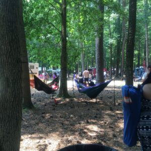 Many people had the right idea in bringing their hammocks! There's lots of trees and natural shade in Stone Mountain Park!