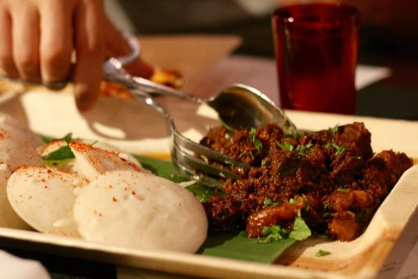goan-chujang pork vindaloo, idli  (fermented & steamed rice&urad dal cakes) by chef Meherwan Irani & James Grogan of Chai Pani