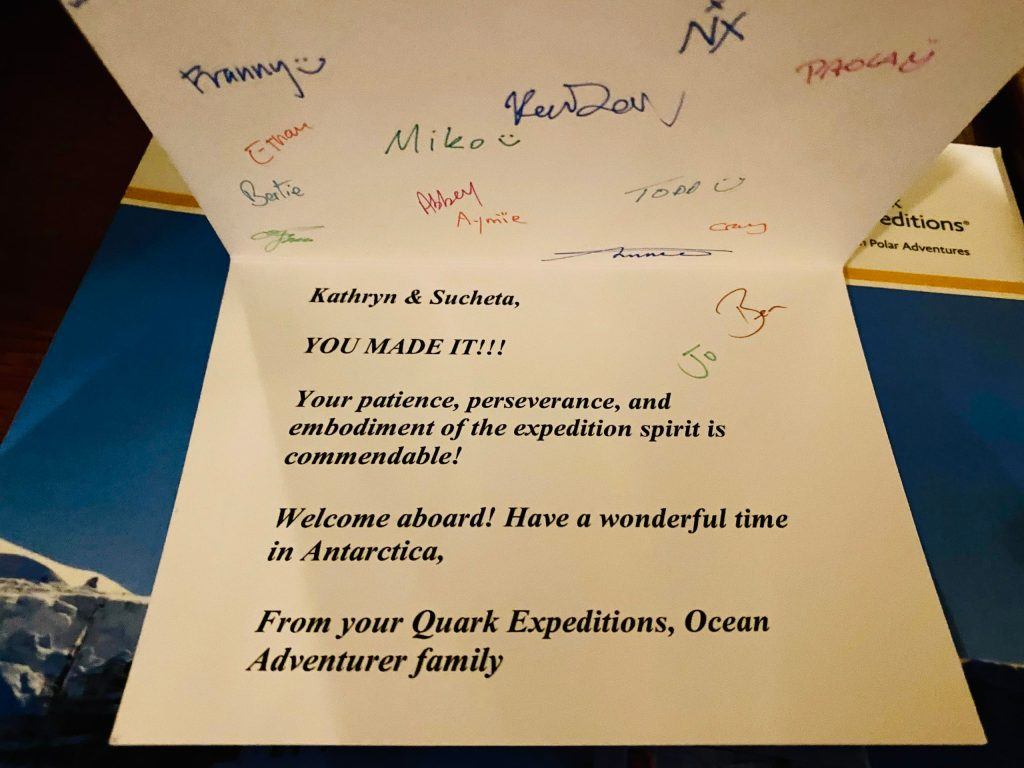 Champagne and a personal card for my roommate and me after flying to antarctica