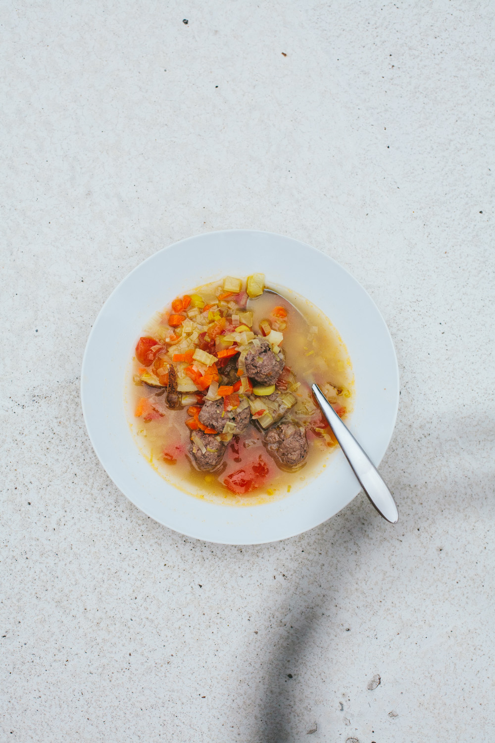 vegetable soup with mini meatballs from the Savor cookbook