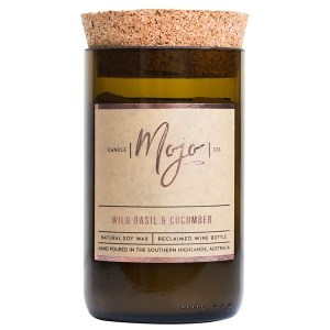 Mojo Candle Co Reclaimed Wine Bottle Candle Wild Basil Cucumber