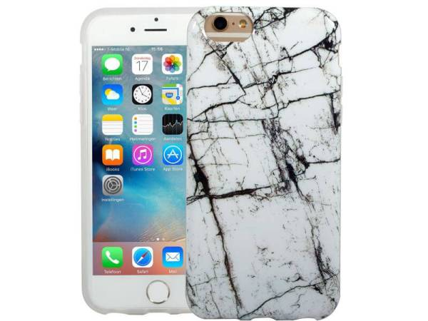 Marmer iPhone 6 / 6S Hoesje Marble Zwart Wit