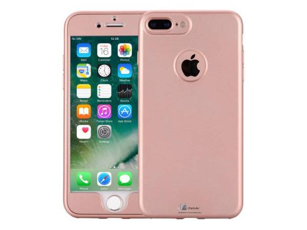 iPhone 8/7 Plus Hoesje 360 Graden Siliconen Logo Rose Goud