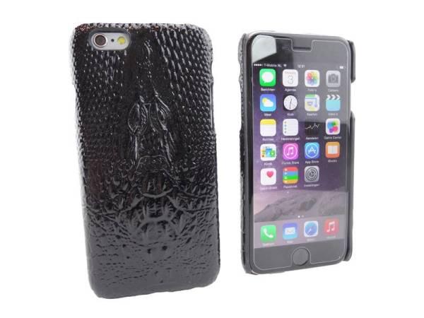 iPhone 6 en 6S Hoesje Hardcover Krokodil Zwart