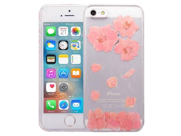 iPhone SE/5S/5 Hoesje Echte Bloemen Roze Siliconen