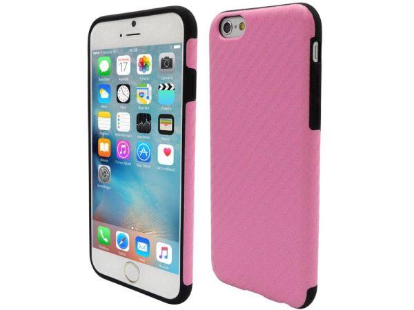 iPhone 6 en 6S Siliconen Gel Hoesje Carbon Roze