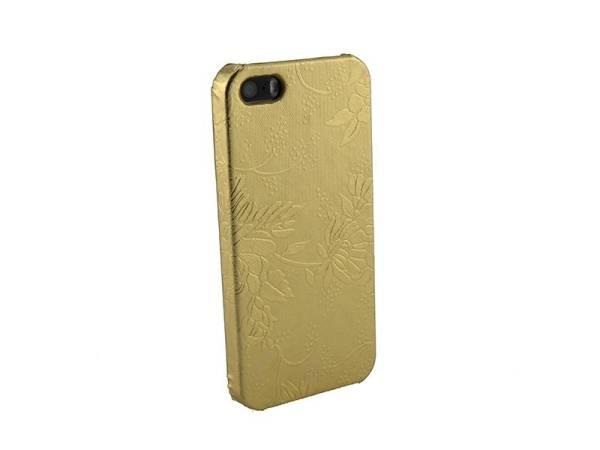 Hardcover Snap Case hoesje iPhone 5&5S Bloemen Goud