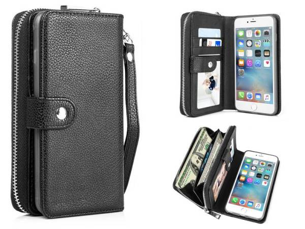iPhone 6 Plus / 6S Plus Hoesje Portemonnee Clutch Zwart