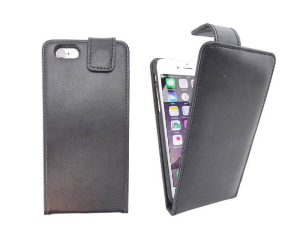 Flip Case iPhone 6 en 6S Zwart Leder Look