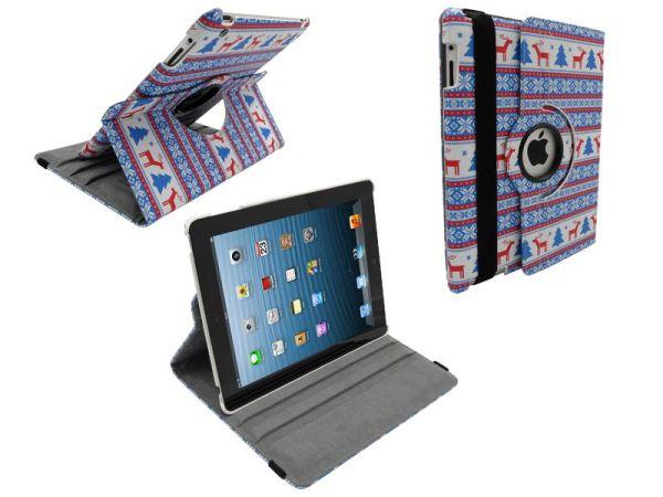 iPad 2/3/4 Hoes Draaibaar 360 Graden Leder Foute Kerst Rood
