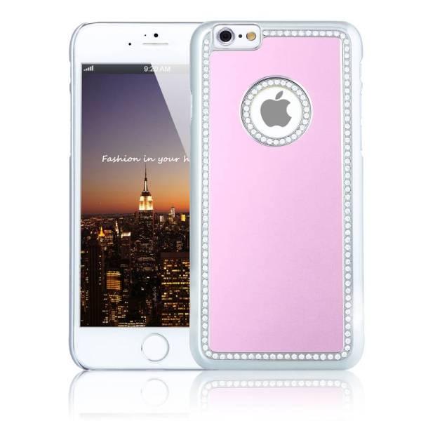 iPhone 6 en 6S Logo Snap Case Hoesje Diamantjes Roze