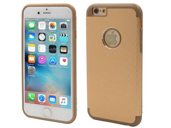 iPhone 6/6S Aluminium Logo Hardcase Hoesje Ruit Goud