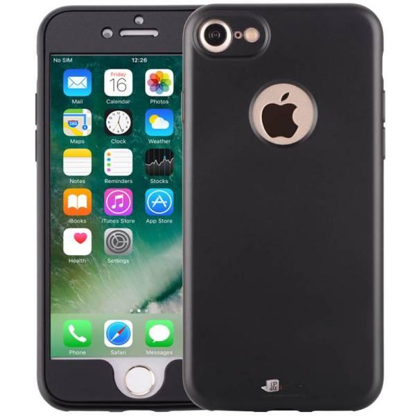 iPhone 8/7 Hoesje 360 Graden Siliconen Logo Zwart