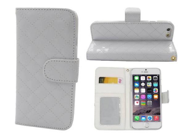 iPhone 6 en 6S Leder Lak Bookcase Hoesje Wit