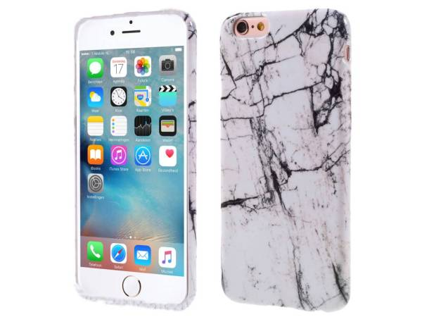 Marmer iPhone 6 en 6S Hoesje Siliconen Wit Grijs