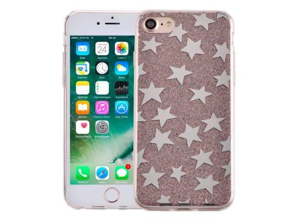 iPhone 8/7 Glitter Hoesje Hardcase Sterretjes Multicolor