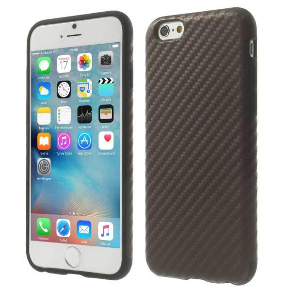 iPhone 6 en 6S Siliconen Gel Hoesje Carbon Antraciet