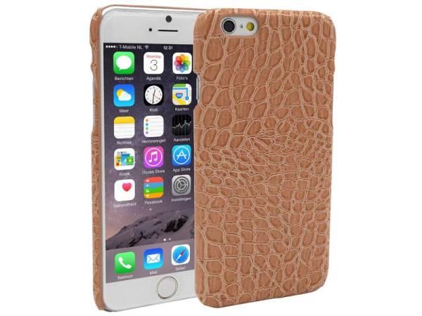 iPhone 6 en 6S Backcover Krokodil Print Bruin