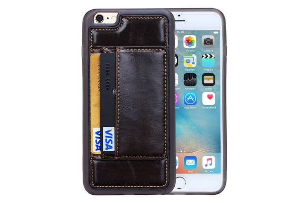 iPhone 6 en 6S Hoesje Siliconen Leder Pas Houder Bruin