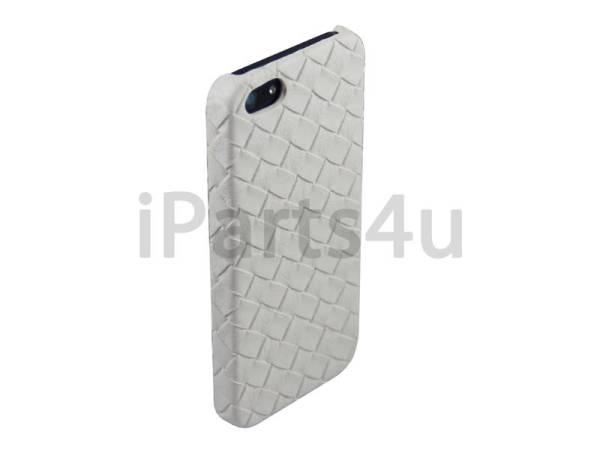 Gevlochten Leder iPhone 5/5S Hardcover Snap Case Wit