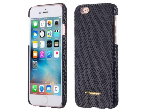 iPhone 6 en 6S Hardcase Hoesje Leder Slang Motief Zwart