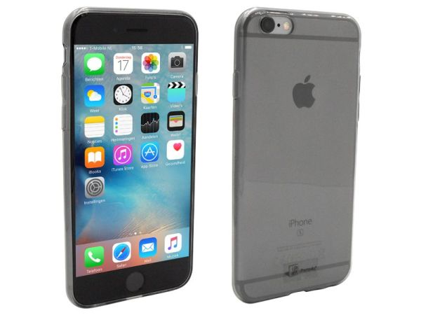 iPhone 6S Hoesje Ultra Dun Siliconen Zwart Transparant