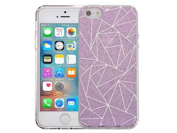 iPhone SE/5S/5 Glitter Hoesje Hardcase Mozaïek Paars