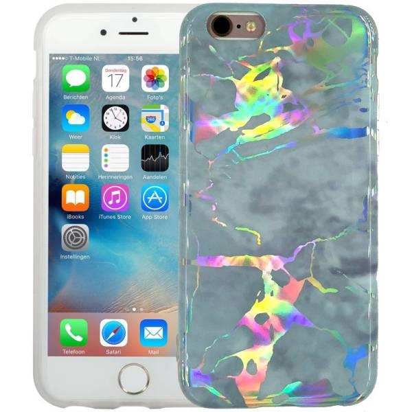 Marmer iPhone 6/6S Hoesje Siliconen Marble Hologram Grijs