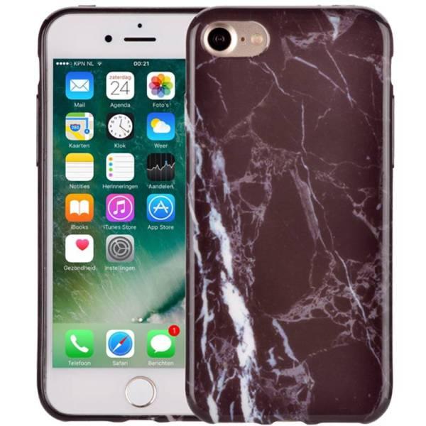 Marmer iPhone 8/7 Hoesje Marble Zwart Siliconen