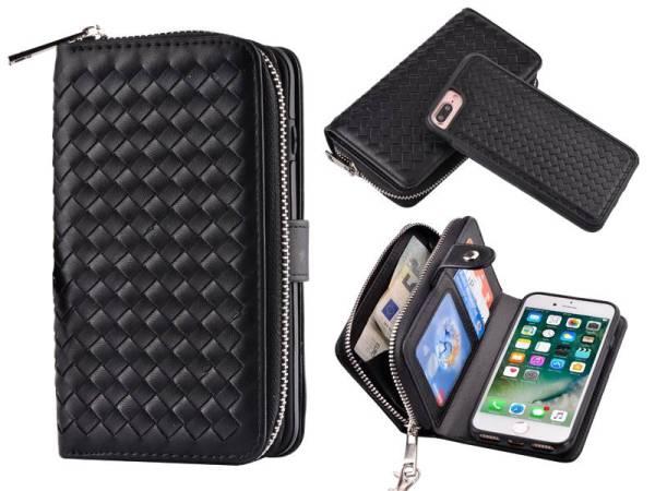 iPhone 8/7 Plus Hoesje Portemonnee Clutch Gevlochten Zwart