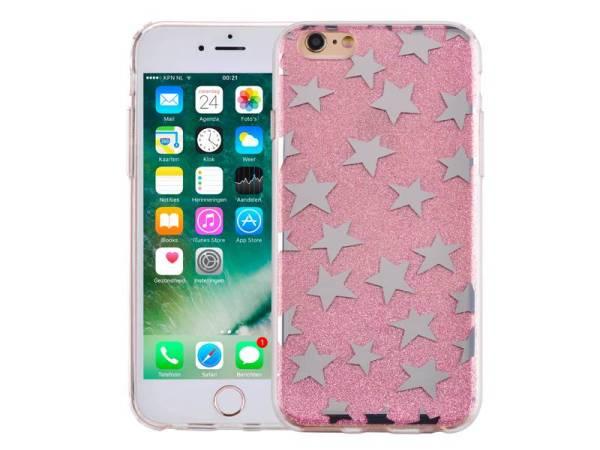 iPhone 6 en 6S Glitter Hoesje Hardcase Sterretjes Roze
