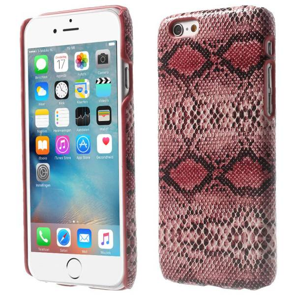 iPhone 6 en 6S Hoesje Hardcover Slangenprint Rood